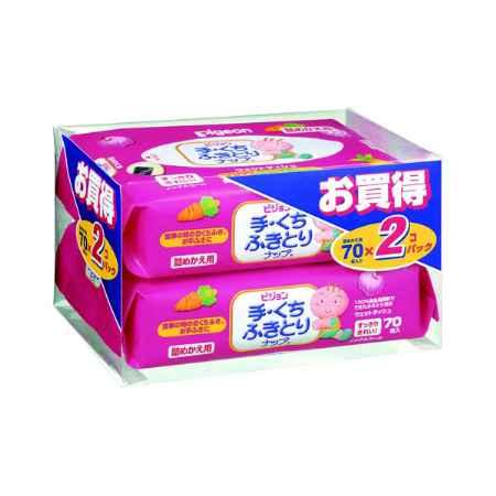 Купить Pigeon Япония Салфетки влажные  Pigeon для рук и лица (запасной блок 70 шт х 2) 140 шт