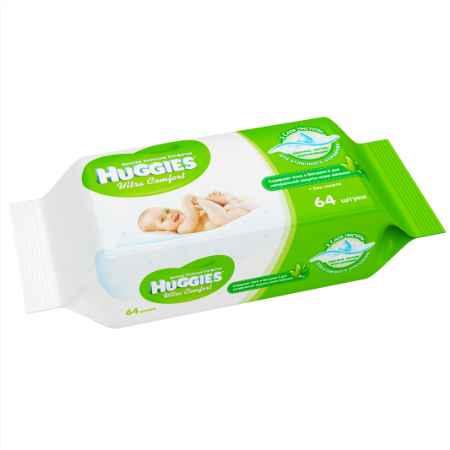 Купить Huggies Салфетки влажные Huggies  Ultra Сomfort с алоэ и витамином Е  64 шт