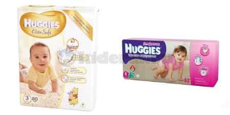 Купить Huggies Подгузники Элит Софт 3, 5-9 кг и трусики-подгузники 4 для девочек, 9-14 кг