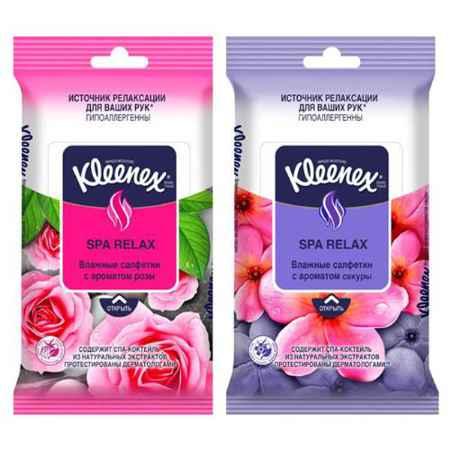 Купить Kleenex Салфетки влажные Kleenex SPA RELAX с ароматом розы или сакуры 10 шт