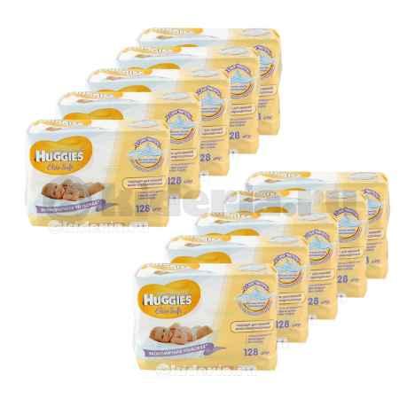 Купить Huggies Влажные салфетки детские Элит Софт Дуо без отдушек, 128 шт/уп, 10 упаковок