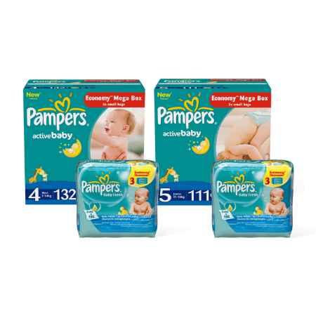 Купить Pampers Набор Pampers Непревзойденная сухость Active Baby (4-5 размер)