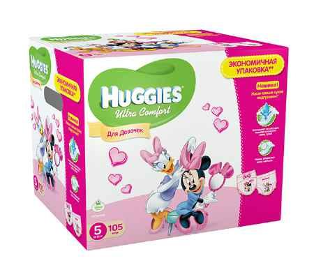 Купить Huggies Подгузники Ultra Comfort Disney Box для девочек 5 (12-22 кг) 105 шт.