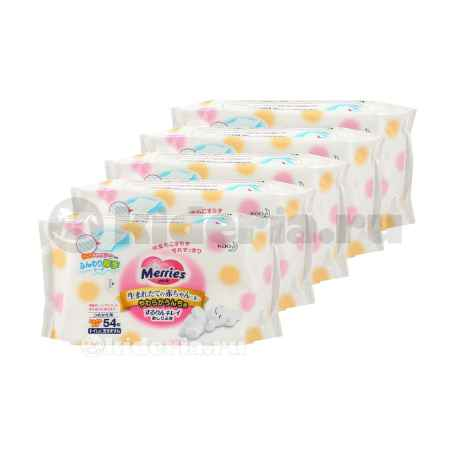 Купить Merries Набор розовых салфеток, 54 шт./уп, 5 упаковок