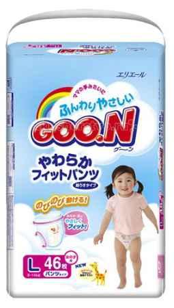 Купить GooN Подгузники-трусики для девочек L (9-14 кг) 46 шт.