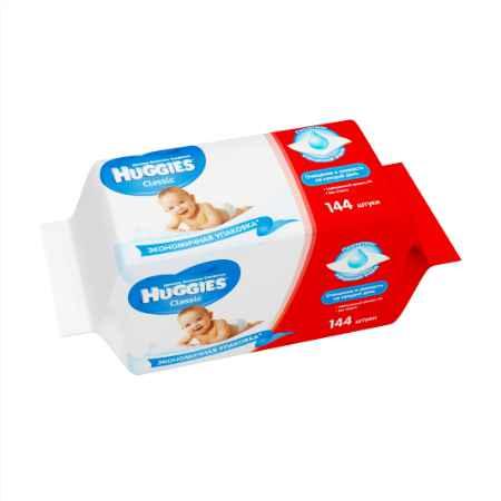 Купить Huggies Салфетки влажные Huggies  Classic c алоэ и витамином Е (запасной блок 72 шт x 2) 144 шт