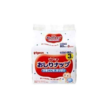 Купить Pigeon Япония Салфетки влажные  Pigeon с рождения (запасной блок 80 шт х 3) 240 шт