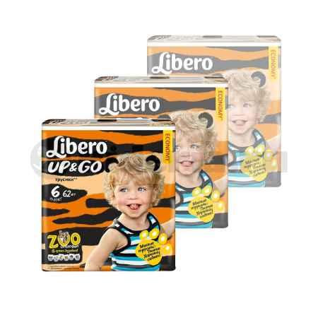 Купить Libero НАБОР Libero Детские одноразовые трусы Up&Go Extra Large,13-20 кг, 62шт/уп, (3 УПАКОВКИ)