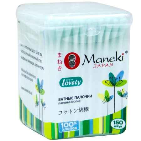 Купить Maneki Палочки ватные гигиенические Maneki Lovely (в пластиковом стакане) с зеленым бумажным стиком 150 шт