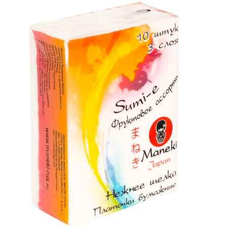 Купить Maneki Платочки бумажные Maneki Sumi-e 3 слоя с ароматом фруктов 10 упаковок х 10 шт