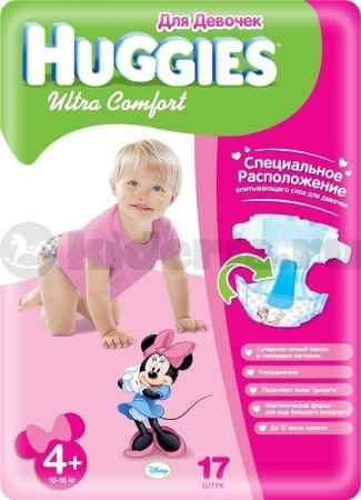 Купить Huggies Подгузники Ultra Comfort 4+ для девочек, 10-16 кг