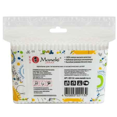 Купить Maneki Палочки ватные гигиенические Maneki Lovely (в zip-пакете) с белым пластиковым стиком 200 шт