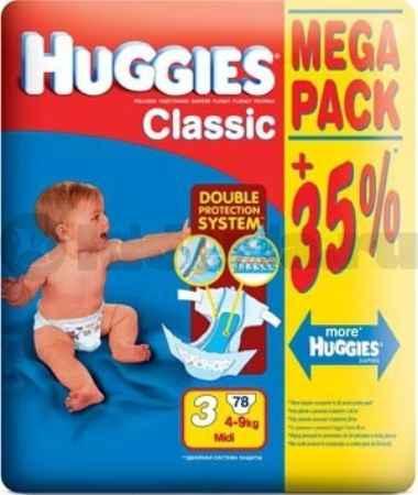 Купить Huggies Подгузники Classic 3 (4-9 кг.), 78 шт.