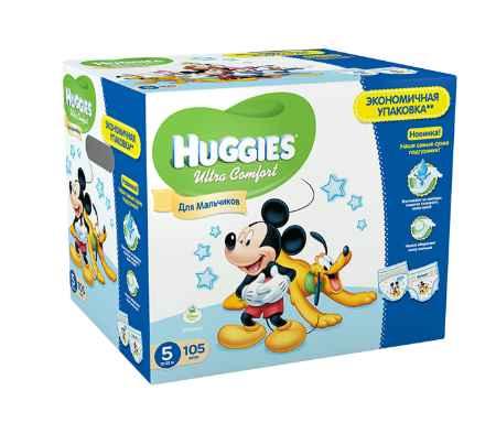 Купить Huggies Подгузники Ultra Comfort DISNEY Box для мальчиков 5 (12-22 кг) 105 шт.