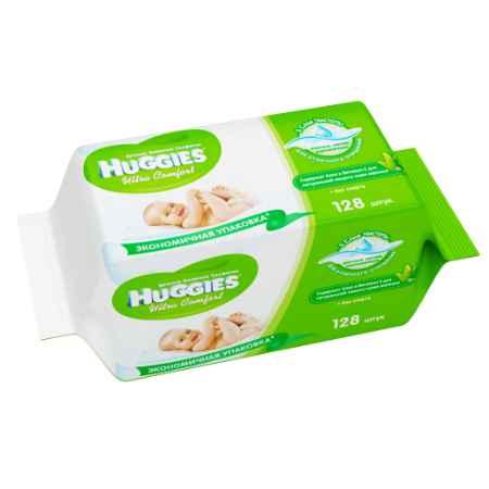 Купить Huggies Салфетки влажные Huggies  Ultra Сomfort с алоэ и витамином Е (запасной блок 64 шт х 2) 128 шт