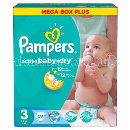 Купить Pampers Подгузники Active Baby Midi Mega Плюс р.3 (4-9 кг) 186 шт.