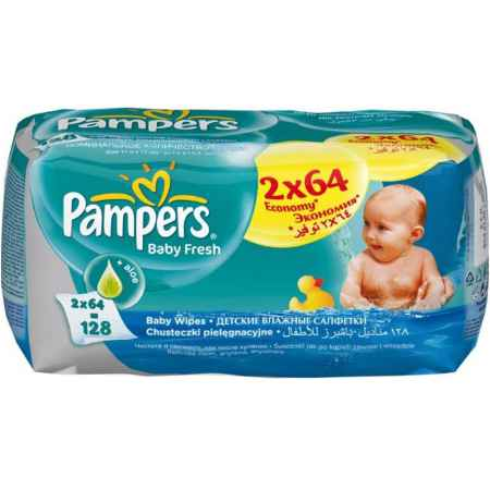 Купить Pampers Салфетки влажные Pampers Baby Fresh Clean с алоэ (запасной блок 64 шт х 2) 128 шт