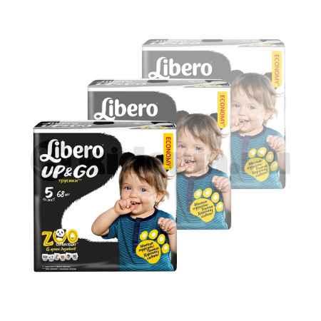 Купить Libero НАБОР Libero Детские одноразовые трусы Up&go Maxi Plus, 10-14 кг, 68 шт/уп (3 УПАКОВКИ)
