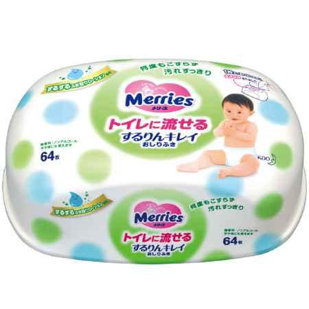 Купить Merries Салфетки влажные Merries с 3 месяцев (контейнер) 64 шт