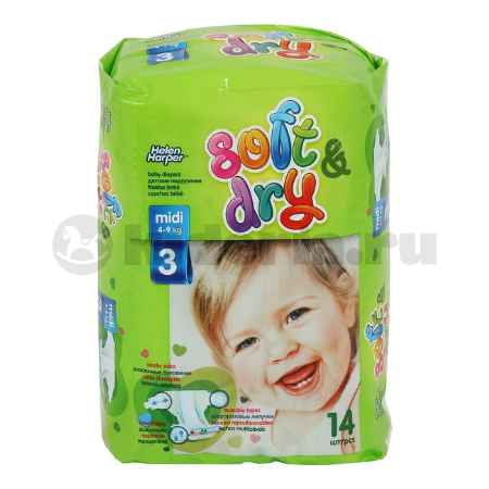 Купить Helen Harper Детские подгузники Soft & Dry midi 4-9 кг, 14 шт