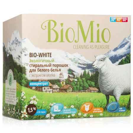 Купить BioMio Экологичный стиральный порошок BioMio 1500 гр. для белого белья с экстрактом хлопка (концетрат)