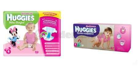 Купить Huggies Подгузники Ультра Комфорт 4 для девочек, 8-14 кг и трусики-подгузники 4 для девочек, 9-14 кг