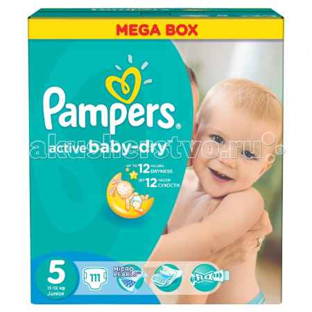 Купить Pampers Подгузники Active Baby Dry Junior р.5 (11-18 кг) 111 шт.