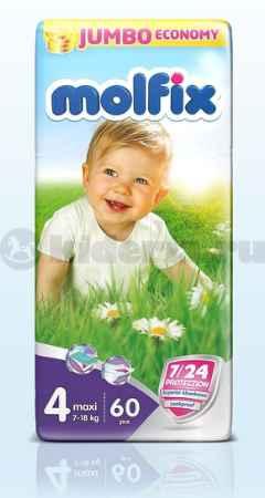 Купить Molfix Подгузники детские Макси 4, 7-18 кг