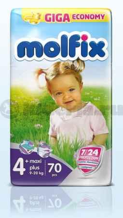 Купить Molfix Подгузники детские Макси Плюс 4, 9-20 кг