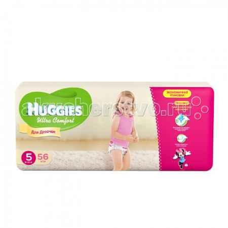Купить Huggies Подгузники Ultra Comfort Mega для девочек 5 (12-22 кг) 56 шт.