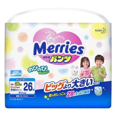 Купить Merries Трусики Merries 15-28 кг (26 шт) Размер XXL