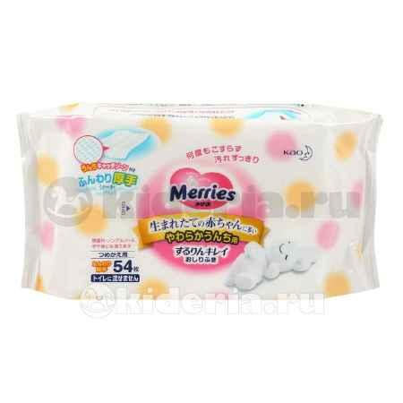 Купить Merries Влажные салфетки розовые, запасной блок, 54 шт.