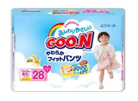 Купить GooN Подгузники-трусики для девочек BIG (13-25 кг) 28 шт.