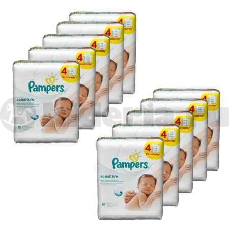 Купить Pampers Набор детских салфеток Sensitive, Сменный блок Quatro, 10 упаковок