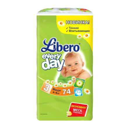 Купить Libero Подгузники Libero Everyday Natural с ромашкой Midi 4-9 кг (74 шт) Размер 3