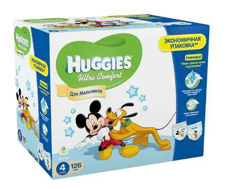 Купить Huggies Подгузники Ultra Comfort Disney Box для мальчиков 4 (8-14 кг) 126 шт.