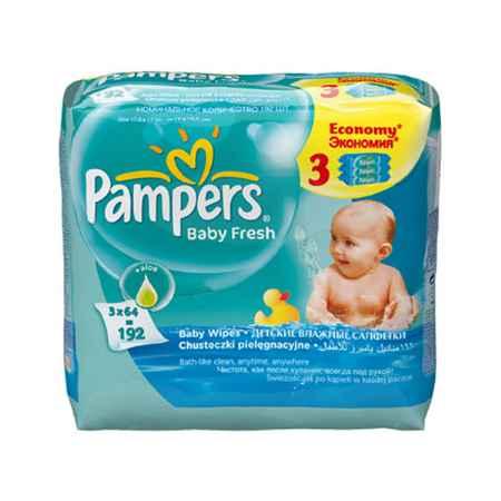 Купить Pampers Салфетки влажные Pampers Baby Fresh Clean с алоэ (запасной блок 64 шт х 3) 192 шт
